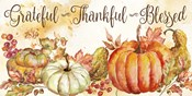 Watercolor Harvest Pumpkin Grateful Thankful Blessed