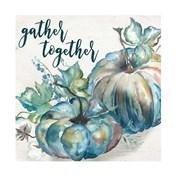 Blue Watercolor Harvest  Square Gather Together