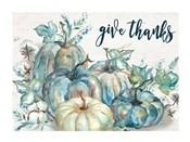 Blue Watercolor Harvest Pumpkin Landscape Give Thanks
