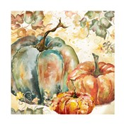 Watercolor Harvest Teal and Orange Pumpkins I