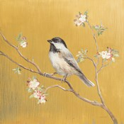 Black Capped Chickadee on Gold