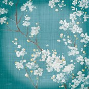 White Cherry Blossoms II on Teal Aged no Bird