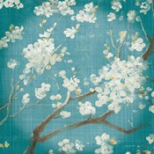 White Cherry Blossoms I on Teal Aged no Bird