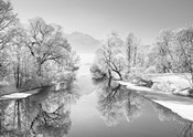 Winter landscape at Loisach, Germany (BW)