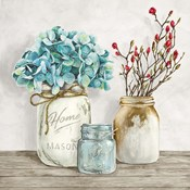 Floral Composition with Mason Jars I