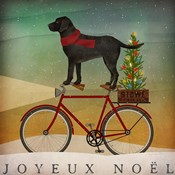 Black Lab on Bike Christmas