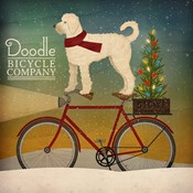White Doodle on Bike Christmas