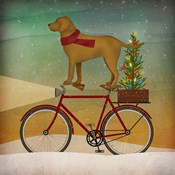 Yellow Lab on Bike Christmas