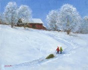 Barn and Children with Sled