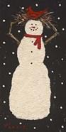 Short Snowman with Cardinal