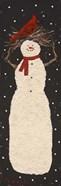 Tall Snowman with Cardinal