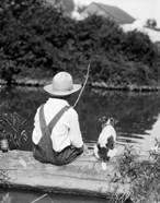 1920s 1930s Farm Boy Fishing