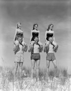 1950s 1960s Three Couples At Beach