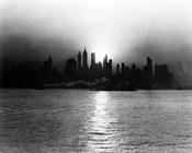 1930s 1940s Morning Misty Sunrise Silhouette