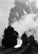 1930s 1940s Head-On View Of Three Steam Engines