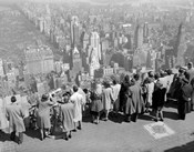 1940s Tourists Standing On Top Of A Building