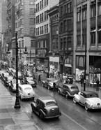 1940s Rainy Day On Chestnut Street Philadelphia