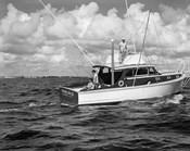 1950s 3 Men Trolling Off Of Fishing Boat