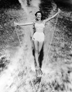 1950s Smiling Woman In White Two Piece Bathing Suit
