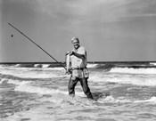 1950s Older Man Standing In Surf