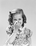 1940s Little Girl Blowing Her Nose