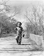 1940s Boy Walking Down Country Road