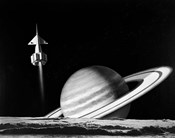 1960s Space Rocket Flying Past Saturn