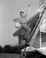 1960s Man Falling Off Of Ladder