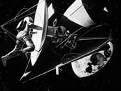 Illustration 1960s Weightless Astronauts Eva