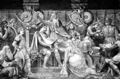 Engraving Of Medieval English Feast