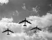 1950s Three B-52 Stratofortress Bomber Airplanes