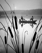 1980s Two Men Silhouetted Bass Fishing