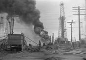 1920s Oil Field Fire Column Of Black Smoke In Field