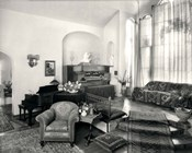 1920s Interior Upscale Music Room With Piano And Organ