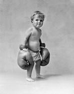 1930s Baby Boy Toddler Wearing  Boxing Gloves