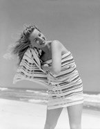 1950s 1960s Blond Woman Wrapped In Towel Drying Hair
