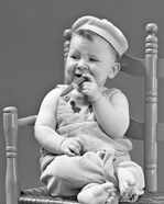 1940s Baby Sitting Chair Holding Cigar