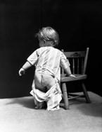 1930s Baby Wearing Drop Seat Pajamas