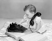 1960s Baby Girl With Telephone Book
