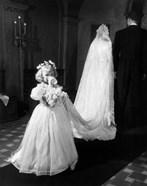 1950s Little Girl Bridesmaid Drinking Glass Of Milk
