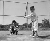 1960s Two Boys Playing Baseball