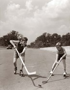 1930s 1940s 2 Boys With Sticks And Puck