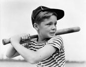 1930s Boy At Bat Wearing A Horizontal Striped Tee Shirt
