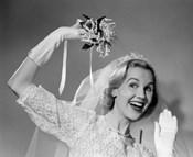 1950s Bride Throwing Bouquet