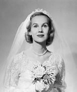1950s Portrait Woman Bride Pearl Necklace