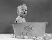 1940s 1950s Smiling Baby In Bath Tub Studio Indoor