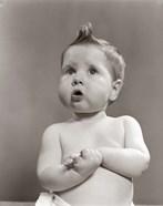 1950s Worried Baby Looking Up Uncertain