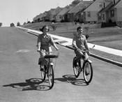 1950s Teen Boy Girl Couple Riding Bikes