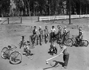 1950s 10 Neighborhood Boys Playing Sand Lot Baseball