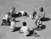 1950s Boys & Girls Shooting Marbles
